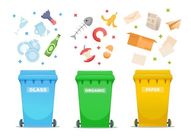 Abfallwirtschaftsillustration sortieren und aufbereiten Premium Vektoren