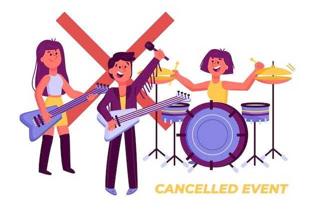 Abgebrochenes musikereignisdesign Kostenlosen Vektoren