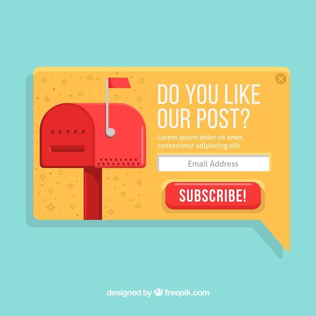 Abonnement pop-up-set mit flachem design Kostenlosen Vektoren