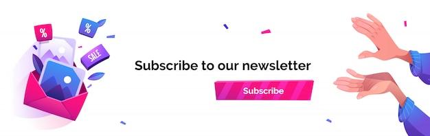 Abonnieren sie unser newsletter-cartoon-banner und senden sie ein news-abonnement per e-mail Kostenlosen Vektoren