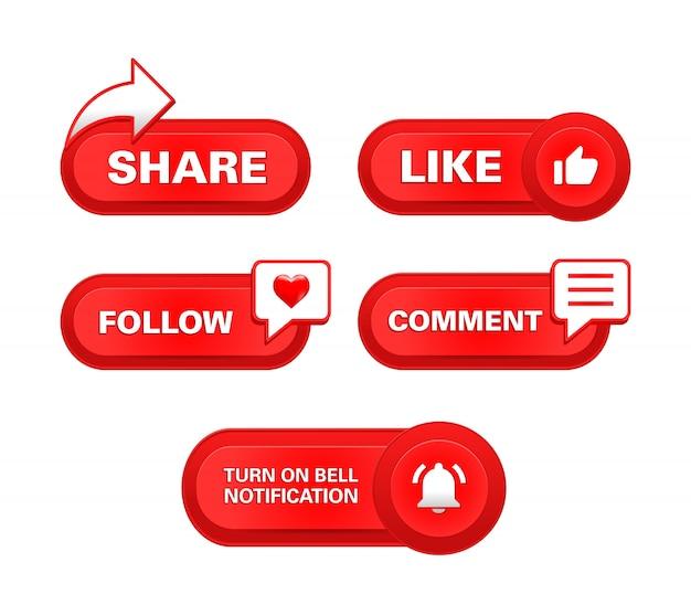 Abonnieren teilen wie follow kommentar schaltfläche benachrichtigung glocke realistisch Premium Vektoren