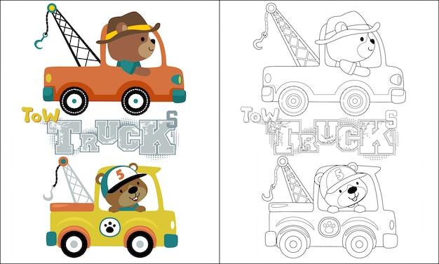 Abschleppwagen cartoon mit lustigen fahrer Premium Vektoren