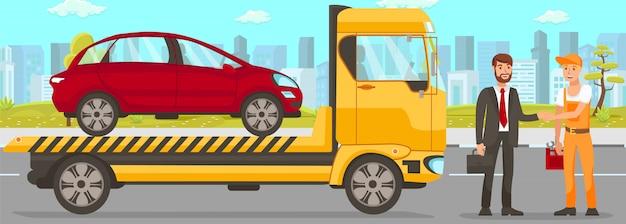 Abschleppwagen und fahrerservice Premium Vektoren