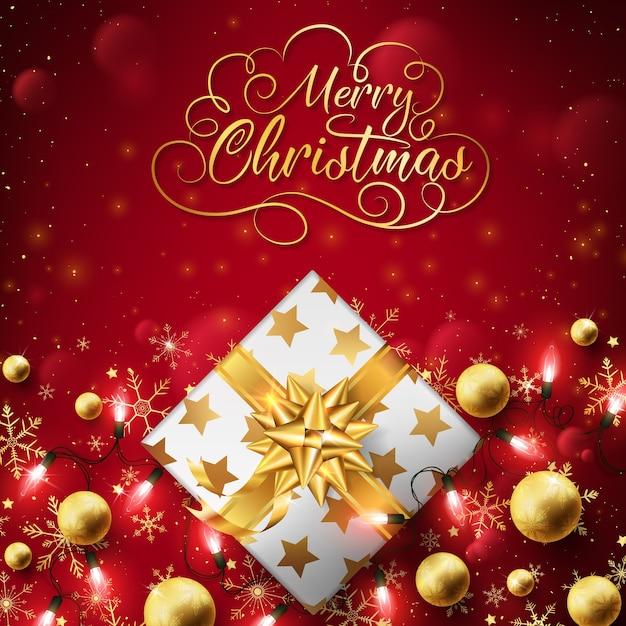 Abschluss oben des goldenen kastens des weihnachten kleiden oben hintergrund mit schnurlichtern. Premium Vektoren