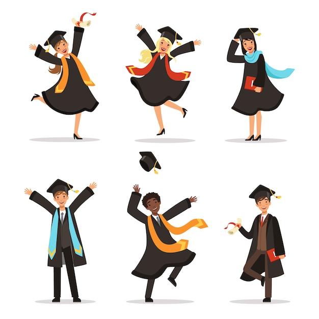 Abschluss von glücklichen studenten in verschiedenen nationen. vektorillustration des hochschullebensstils. zucht Premium Vektoren