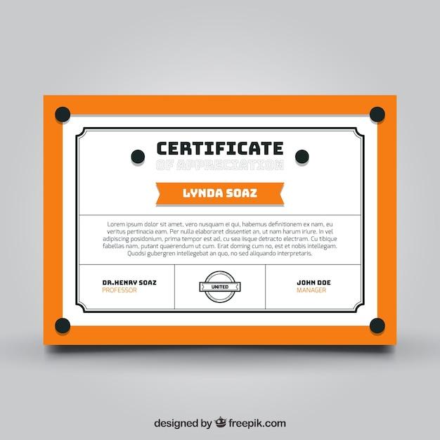 Abschluss-Zertifikat-Vorlage mit orangefarbenen Elementen | Download ...