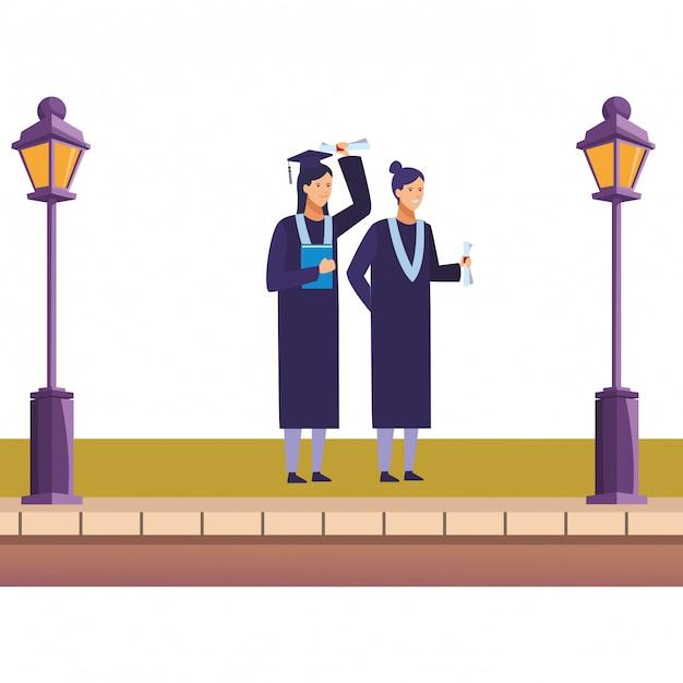 Abschlussfeier mädchen Premium Vektoren