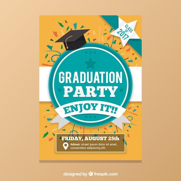 Abschlussfeier mit farbigen konfetti Premium Vektoren