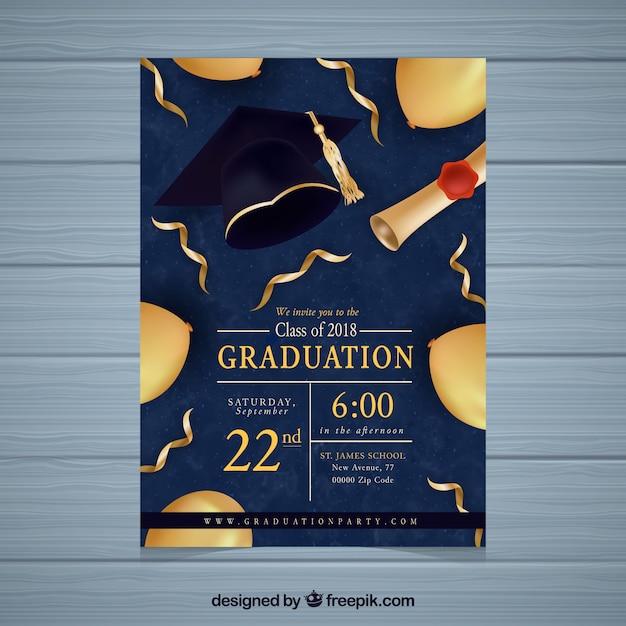 Abschlussfeiereinladung mit goldenen elementen Kostenlosen Vektoren