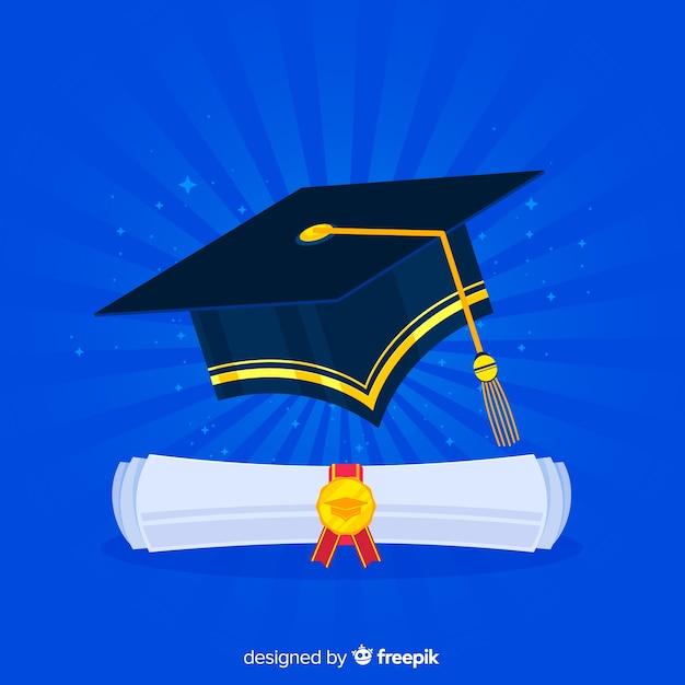 Abschlusskappe und -diplom mit flachem design Kostenlosen Vektoren