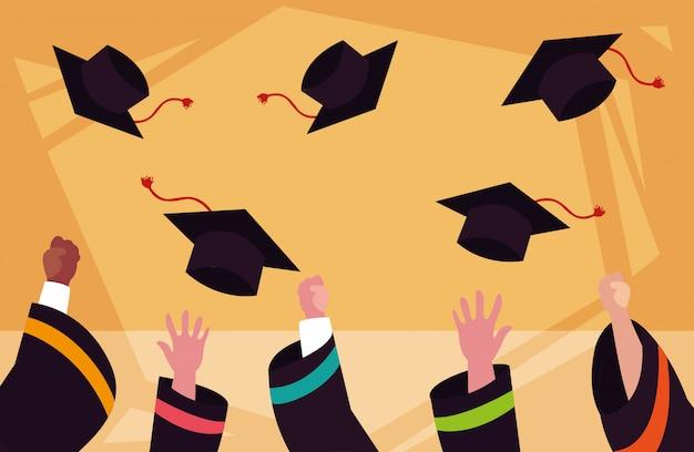 Abschlusskappen in der zeremonie Premium Vektoren