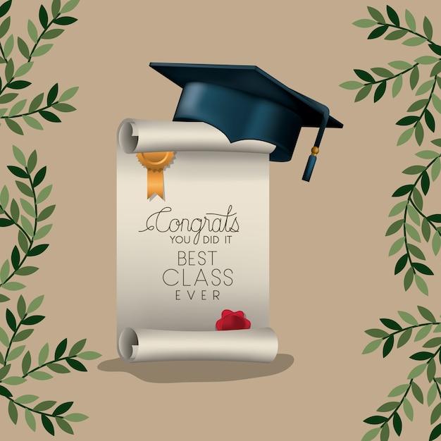 Abschlusskarte mit diplom und hut Premium Vektoren