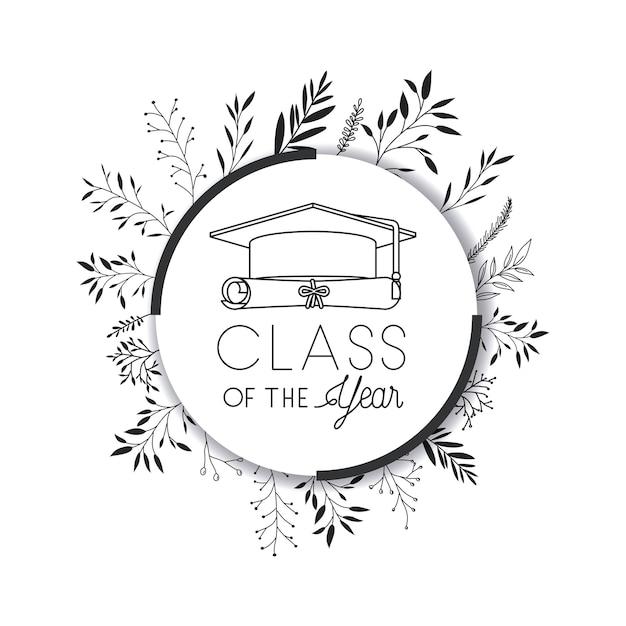Abschlusskarte mit hut und diplom Premium Vektoren
