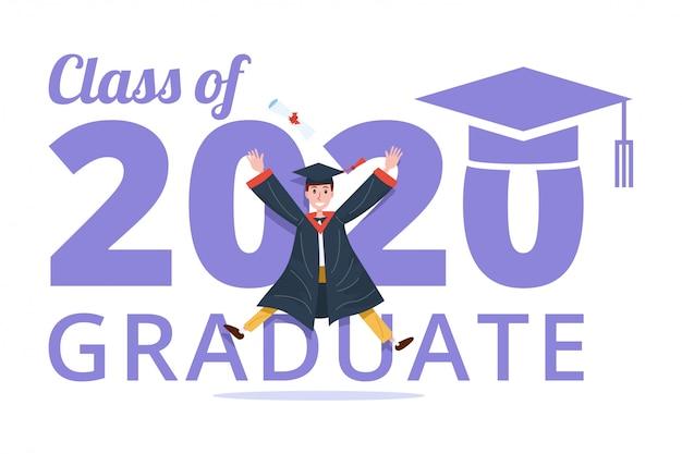 Abschlussklasse 2020 banner mit absolventen mann springen. Premium Vektoren
