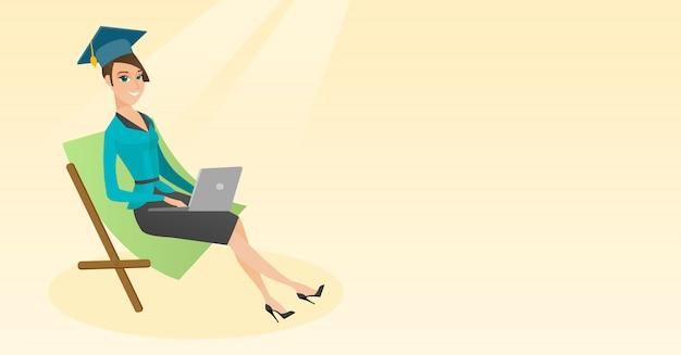 Absolvent, der im wagenaufenthaltsraum mit laptop liegt. Premium Vektoren