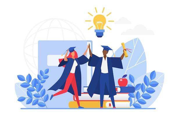 Absolventen, die abschluss feiern, schulabschluss halten Premium Vektoren
