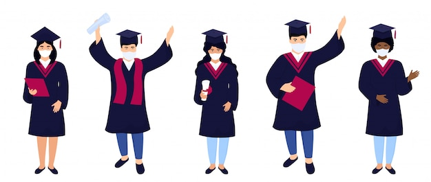 Absolventen medizinischer schutzmasken feiern den abschluss 2020 während der coronavirus-quarantäne. Premium Vektoren