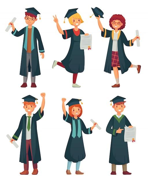 Absolventen. student in den staffelungskleidern, im ausgebildeten hochschulabsolventmann und im frauencharakter-karikatursatz Premium Vektoren