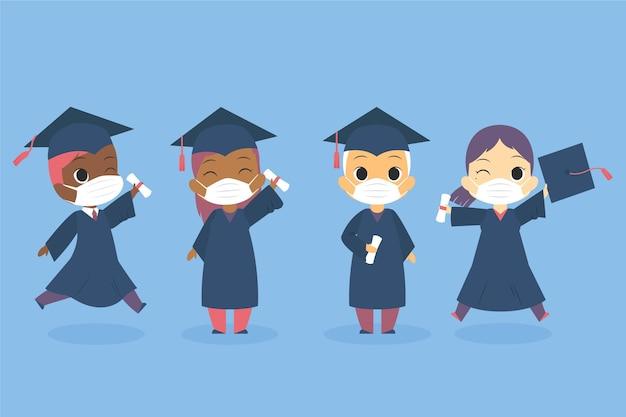 Absolventen tragen gesichtsmasken gesetzt Kostenlosen Vektoren