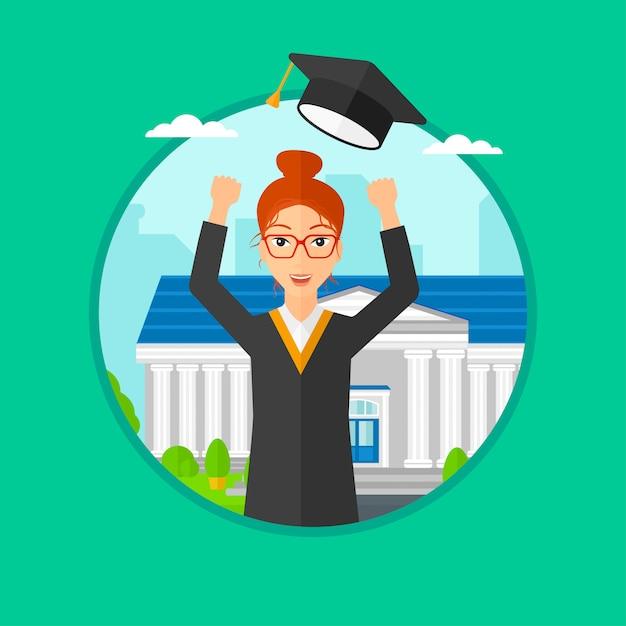 Absolventin wirft ihren hut hoch. Premium Vektoren