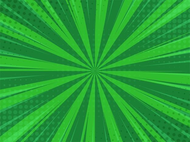 Abstack-grün-hintergrund-karikatur-art. bigbamm oder sonnenlicht. Premium Vektoren