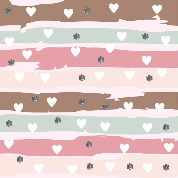 Abstarct striped pattern mit herzen und glittery hexagon Premium Vektoren
