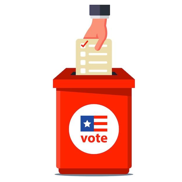 Abstimmung bei den amerikanischen wahlen. wirf das billet in den roten behälter. illustration auf weißem hintergrund. Premium Vektoren