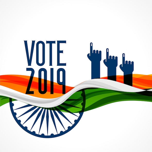 Abstimmungs-indien-hintergrund mit flagge und hand Kostenlosen Vektoren