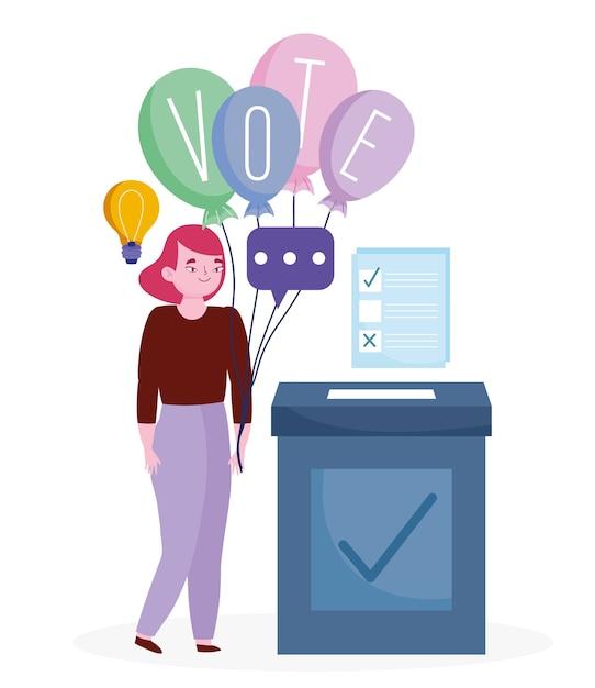 Abstimmungs- und wahlkonzept, frau mit wortabstimmung auf luftballons und stimmzettel mit kasten Premium Vektoren