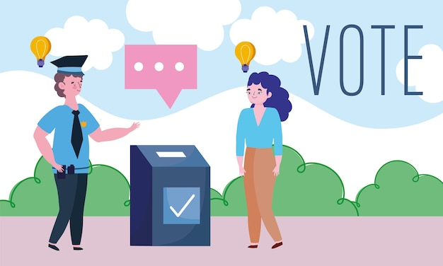 Abstimmungs- und wahlkonzept, junge frau im ort wählen Premium Vektoren