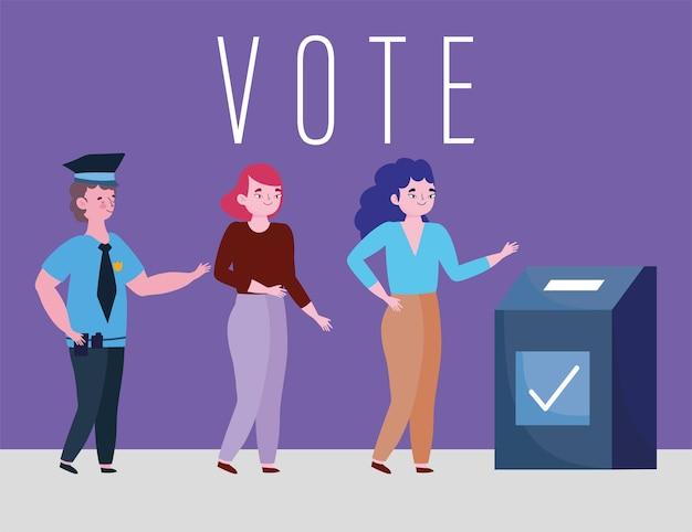 Abstimmungs- und wahlkonzept, junge frauen wählen und wählen kandidaten Premium Vektoren