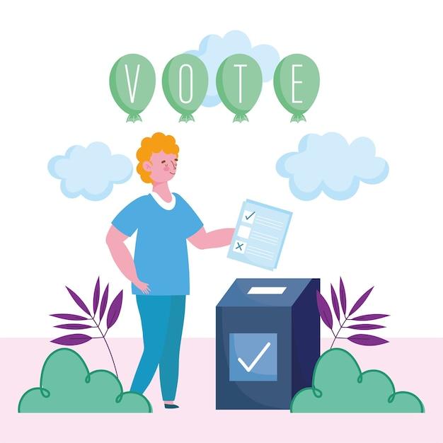Abstimmungs- und wahlkonzept, junger mann, der stimmzettel in die box setzt Premium Vektoren
