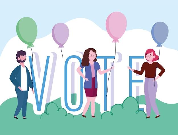 Abstimmungs- und wahlkonzept, leute und abstimmungswort mit luftballons cartoon Premium Vektoren