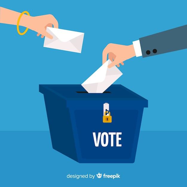 Abstimmungs- und wahlkonzept mit kasten Kostenlosen Vektoren