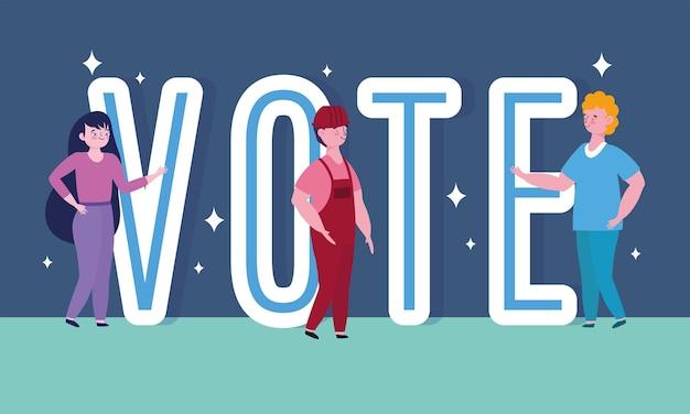 Abstimmungs- und wahlkonzept, personen- und abstimmungswortkarikatur Premium Vektoren
