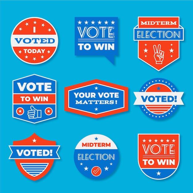 Abstimmungsabzeichen & aufkleber Kostenlosen Vektoren