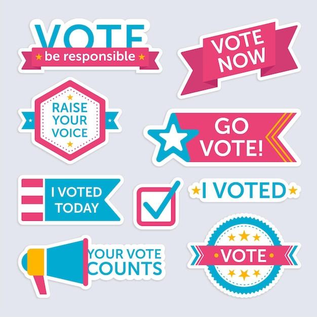 Abstimmungsabzeichen und aufkleber gesetzt Premium Vektoren