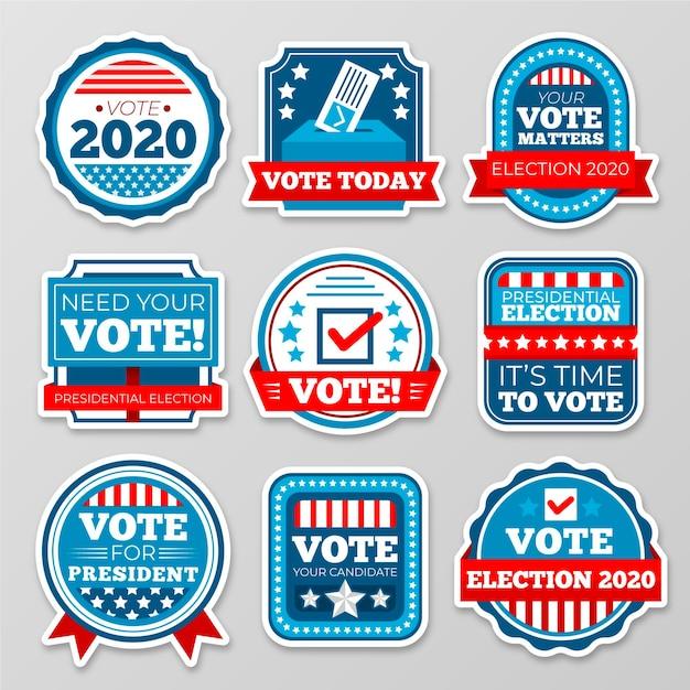 Abstimmungsabzeichen und aufkleber Kostenlosen Vektoren