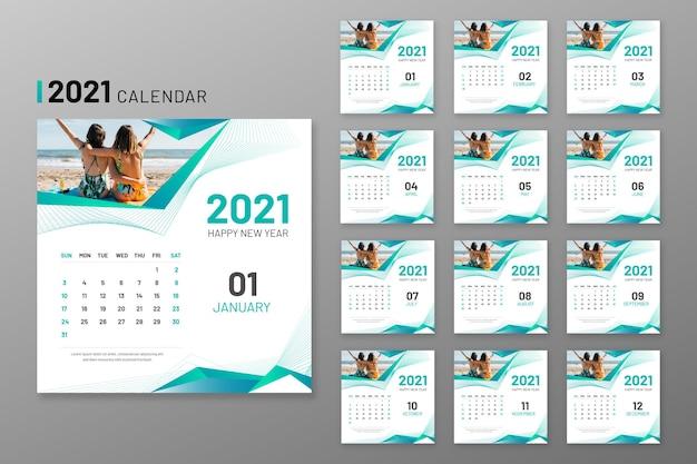 Abstract 2021 kalendervorlage Premium Vektoren