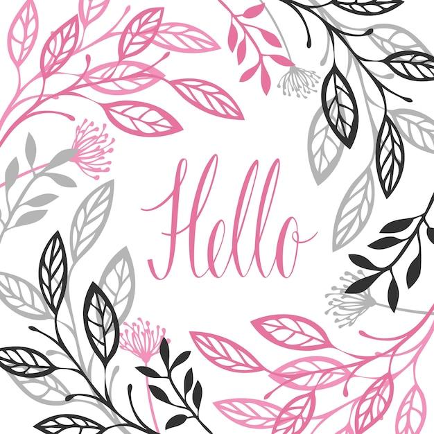Abstract floral frame graue und rosa farbe hallo kalligraphie schriftzug isolierte vektorobjekt Kostenlosen Vektoren