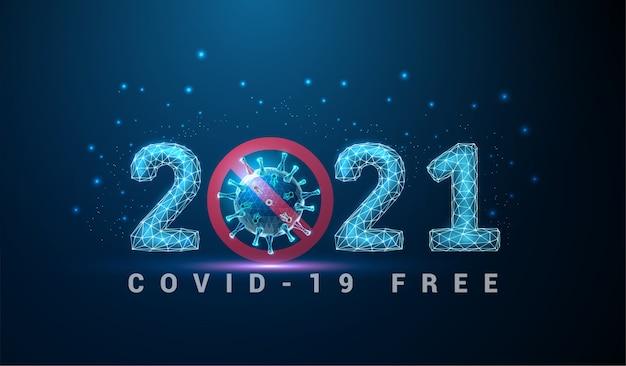 Abstract happy 2021 neujahrsgrußkarte mit coronavirus. low poly style design. abstrakter geometrischer hintergrund. drahtgitter-lichtstruktur. modernes 3d-grafikkonzept. Premium Vektoren