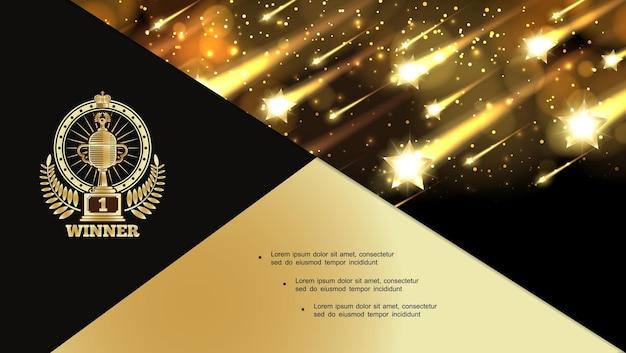 Abstract vergibt nacht glänzende komposition mit fallenden glitzernden hellen sternen und award-label-illustration Kostenlosen Vektoren