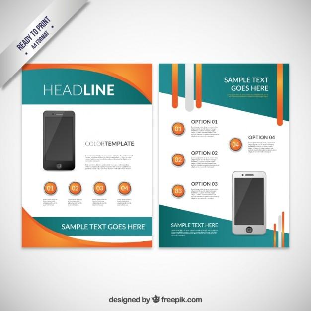 Abstrakt Broschüre mit Handy Kostenlose Vektoren