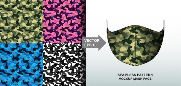 Abstrakt. buntes hintergrundmuster der armee tarnmuster nahtloses design für maskengesicht Premium Vektoren
