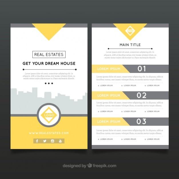 Abstrakt Immobilien-Flyer mit gelben Details | Download der ...
