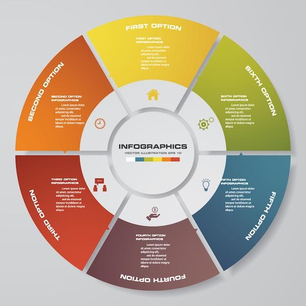 Abstrakte 6 schritte moderne kreisdiagramm infographics elemente. Premium Vektoren