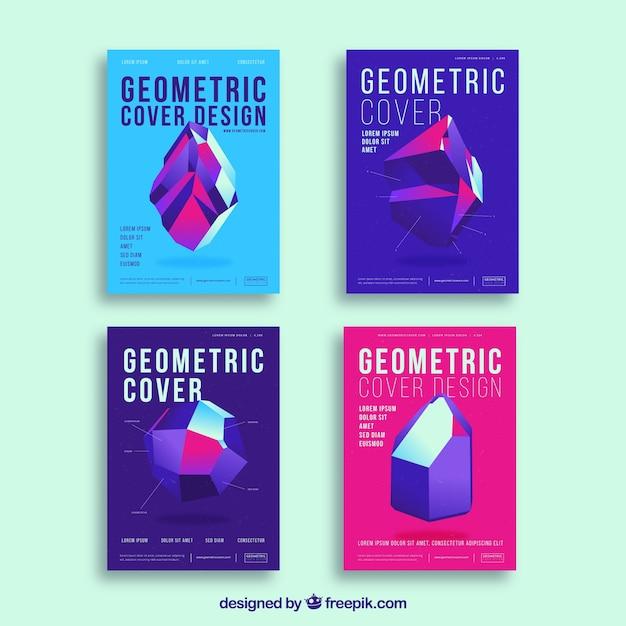 Abstrakte abdeckungsschablonen mit geometrischem design Kostenlosen Vektoren