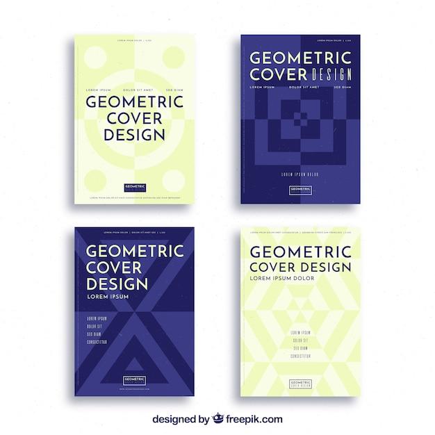 Abstrakte abdeckungsschablonen mit geometrischem design Premium Vektoren