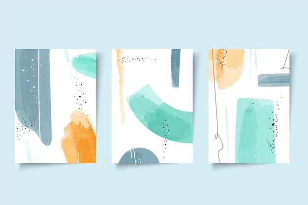Abstrakte aquarellformen deckt satz ab Kostenlosen Vektoren