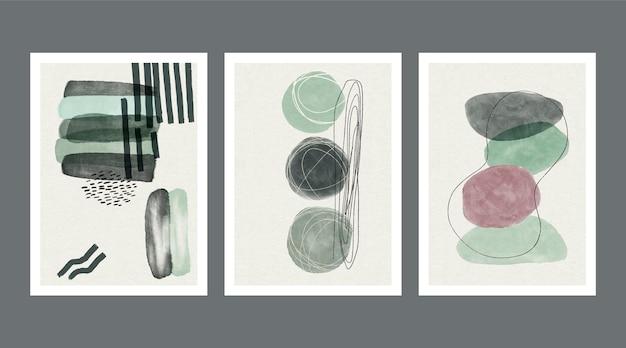 Abstrakte aquarellformenabdeckungen Kostenlosen Vektoren